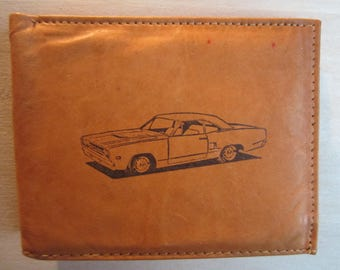 "Mankind Wallets Men's Leather RFID Blocking Billfold w/""1970 Plymouth Road Runner"" Image~Makes a Great Gift!"