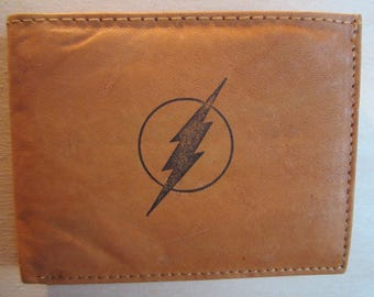 "Mankind Wallets Men's Leather RFID Blocking Billfold w/ ""The Flash"" Image-Makes a Great Gift!"