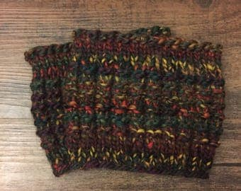 Multi-colored wool knitted boot cuffs, boot toppers, handmade