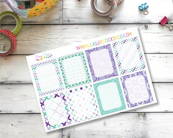 Purple ~ Teal ~ Geometric ~ Floral Full Write-On Box Stickers for Erin Condren Life Planner