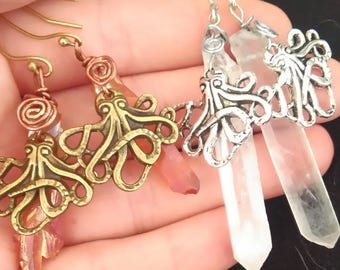 Octupus ear weights/stretched ears/earrings-Gauges/dangle plugs, plug weights dangle plugs, plugs, gauges, Earrings for Stretched Lobes