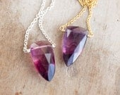Purple Fluorite Necklace, Raspberry Fluorite Pendant, Dagger Necklace, Fluorite Jewelry, Healing Crystal Necklace, Gemstone Jewellery