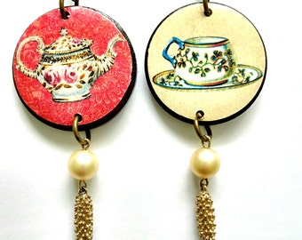 TEA PARTY JEWELRY, tea necklace, teapot necklace, teacup jewelry, vintage teacup image, tea necklace, gift for tea lovers, present for mom