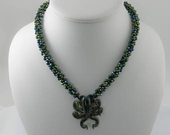 Dark Green Octopus Kumihimo Necklace