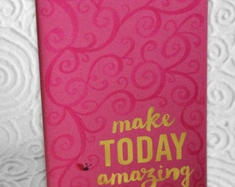Make Today Amazing, journal, notebook, sketch book, blank pages, pink, swirls, ladybug, gold