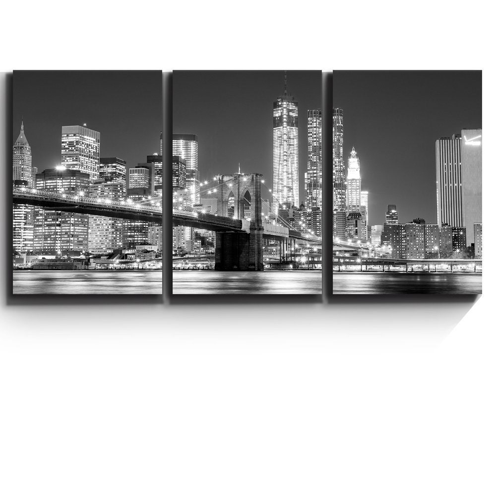Wall decor black and white manhattan skyline and brooklyn for Brooklyn bridge black and white wall mural