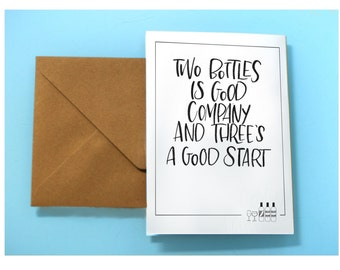Three's a good start// 4x6 greeting card// hand lettered