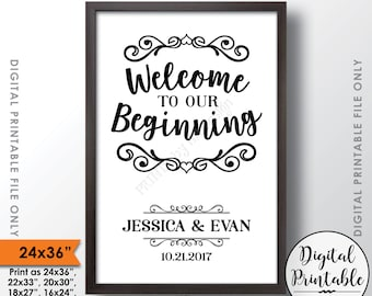 "Wedding Welcome Sign, Welcome to our Beginning Sign, Welcome to Wedding Sign, Welcome to our Wedding, Printable 24x36"" Custom Sign"