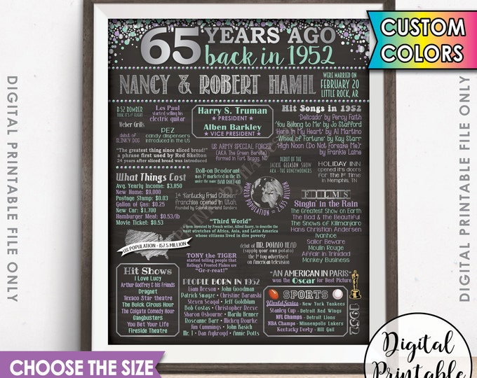 1952 Anniversary Poster, 65th Anniversary Gift 1952 Poster, Flashback 65 Years Ago Married in 1952 65th Gift Chalkboard Style Printable File