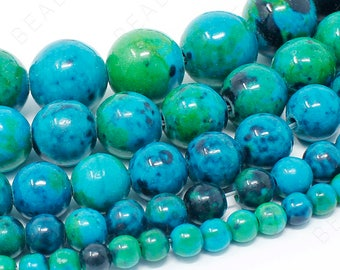 "Chrysocolla Beads Natural Gemstone Round Loose - 4mm 6mm 8mm 10mm 12mm - 15.5"" Strand"