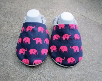 Pink Elephant patterned baby booties, available in sizes up to 24 months.