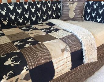 Crib Or Toddler Bed Set Woodland Nursery Navy Tan Brown Deer
