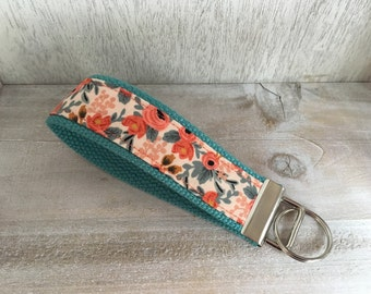 Rifle Paper Co. Coral Roses Key Fob, Wristlet Key Holder, Key Organizer, Keychain, Gift New Teen Driver, Teacher Gift