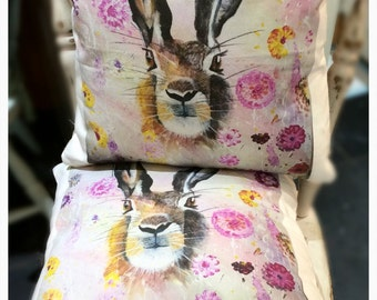 Beautiful Hattie the hare cushion cover and pad, from my original painting x