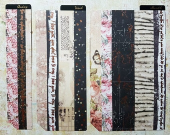 Filofax / kikki K  Page Finder Page Marker Rustic Shabby Chic Vintage Roses and Feathers