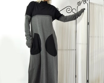 Long Cotton Lycra Dress/Grey and Black Long Dress/Kaftan/Extravagant Dress/Woman Hooded tunic/Side pockets dress/Daywear tunic/D0250