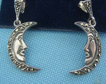 Sterling and Marcasite Man in the Moon Pierced Earrings