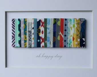 oh happy day - Textile Art with Custom Mat - 11x14 - ready to frame