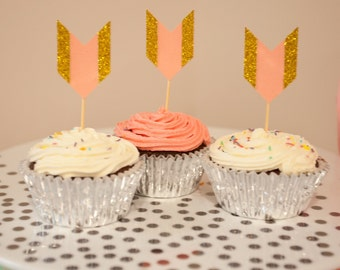 Set of 12 Pink & Gold Glitter Arrow Tail Cupcake Toppers