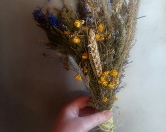 Dried wildflowers bouquet, rustic bouquet, dried meadow flowers and grass, natural eco country chic woodland decor