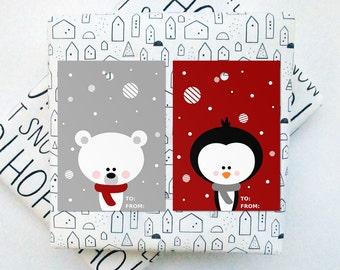 Printable Christmas Tags, Digital Christmas Gift Tags, Instant Download Christmas, Printable Tags, Bear And Penguin Tags, DIY Christmas
