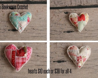 Ready to ship patchwork hearts...tiny heart...quilted heart...photo prop