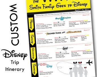 Disney Vacation Itinerary - Custom Trip Planner for your Disney Vacation