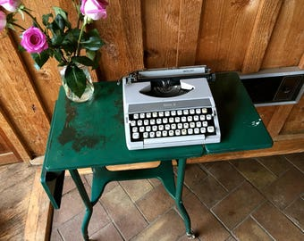 Gorgeous Distressed Industrial Typewriter table//Mid century cart//Small desk on wheels