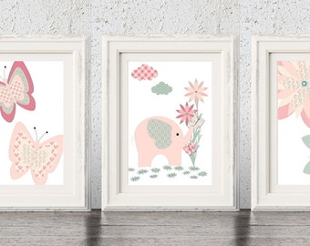 Baby Elephant Nursery Art, Pink & Grey Nursery Prints, Baby Animal Prints, Butterfly Girls Decor, Floral Nursery Art, Floral Nursery Prints