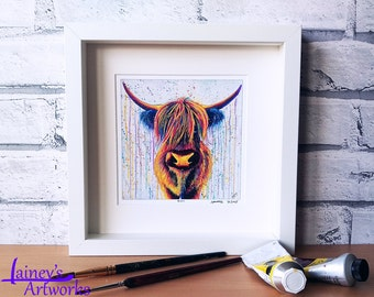 Highland Cow PRINT, Highland cow painting, Highland cow art, bright highland cow, highland cow gift, highland cow lover, Scottish