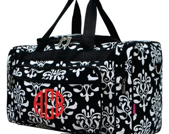 Monogram Black and White Shabby Damask 20 in Duffle