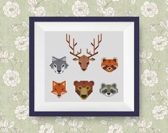 BUY 2, GET 1 FREE! Geometric Animals Cross Stitch Pattern, pdf counted cross stitch, Modern cross stitch pattern, Instant Download, #P276