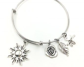 Sunshine Rose Leave Bird on Stem Wire Bangle Bracelet 2 Loops Wrapped with Charms Silver Tone