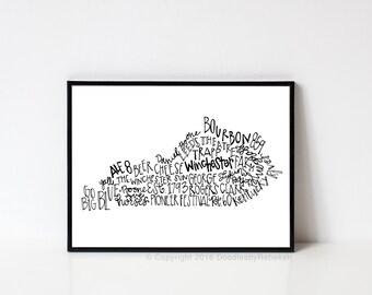 Hand lettered WINCHESTER Kentucky Word Art Print // 8x10