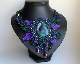 Agate Beadwork Necklace, Seed Bead Necklace, Gemstone necklace, Green and Purple  necklace, crystals necklace.