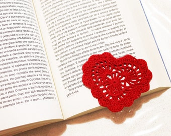 Bookmark crocheted heart