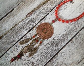 Dreamcatcher, copper mandala dream catcher necklace, Pearl Necklace Orange carnelian gemstone carnelian