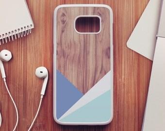 Geometric Wood Samsung Galaxy S7 Case, Wood Samsung Galaxy S6 Case, Geometric Samsung Galaxy S5 Case, Blue Samsung Galaxy S4 Case