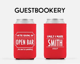 open bar funny wedding favor personalized can cooler wedding favor can