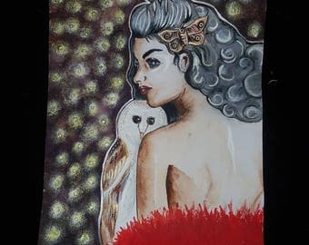 Nocturnal lady , watercolour , watercolour