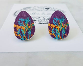 Wooden floral teardrop earrings