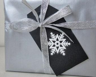 6 Black gift hang tag, Snowflake Gift Tag, Hand Cut Tag, Christmas Gift Tags , Black and White Tag, Gift decoration