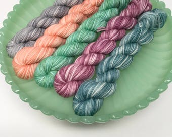 20g mini set Indie Dyed Yarn on Merino cashmere Nylon MCN   Pastels tonal