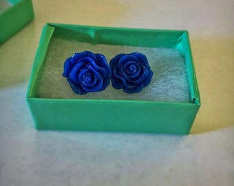 Sapphire Blue Rose Earrings
