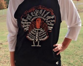 Happy Thanksgiving Raglan Turkey Shirt