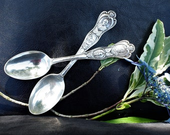 WWI 'Small Crown' Generals Series Spoons - Pair of Two - Canadian Silver Plate