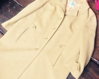 """SALE WAS 45. 1960s Vintage Ladies Coat. Madox of London mustard yellow coloured crimplene. Size Large 16 18. Chest 49"""""""