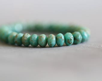 5x3mm, (30) Rondelles, Turquoise, Full Picasso, Opaque, Czech Glass Beads, Faceted, Beads, 30 pieces, Full Strand, Stone Creek