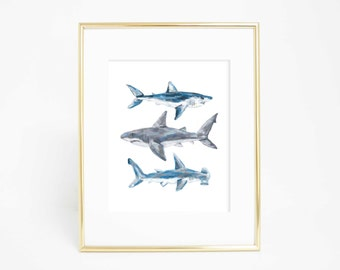 Shark Printable, Printable Shark Art, Shark Decor, Shark Art Print, Nursery Shark Print, Great White Shark, Hammerhead Shark Art Printables