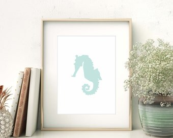 Blue Baby print, Mint Wall Art, Seahorse Print, Seahorse Nursery, Ocean Nursery art, Baby Room Art, Wall Art Baby Art Print Instant Download